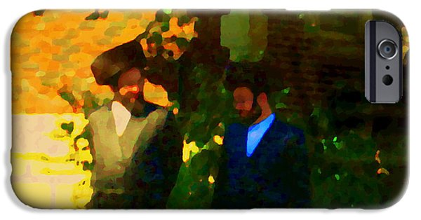 Outremont iPhone Cases - Covenant Conversation Two Men Of God Hasidic Community Montreal City Scene Rabbinical Art Carole Spa iPhone Case by Carole Spandau