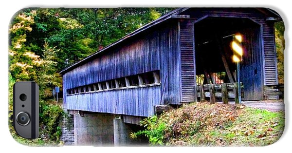 Covered Bridge Mixed Media iPhone Cases - Covered Bridge 1 iPhone Case by Gena Weiser