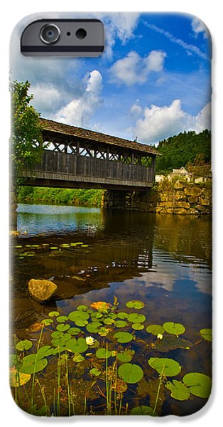 Covered Bridge iPhone Cases - Covered Bridge Across A River, Vermont iPhone Case by Panoramic Images