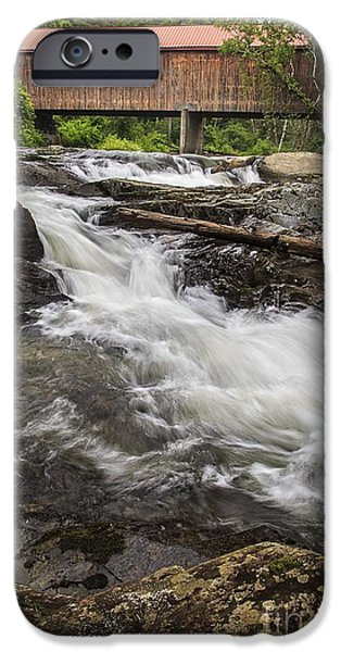 Covered Bridge iPhone Cases - Covered Bridge and Waterfall iPhone Case by Edward Fielding