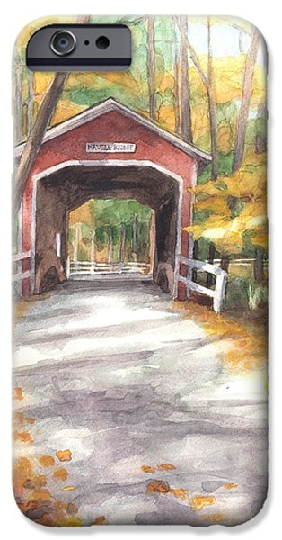 Covered Bridge Drawings iPhone Cases - Covered Bridge Autumn Shadows Watercolor Painting iPhone Case by Mike Theuer