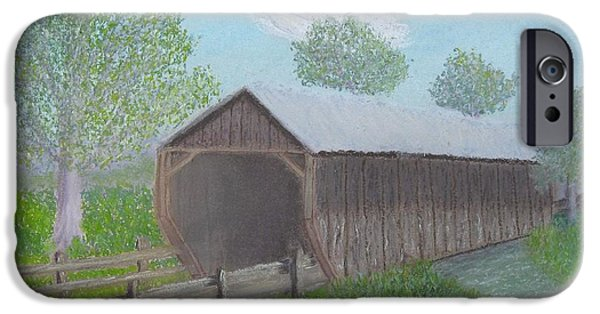 Creek Pastels iPhone Cases - Covered Bridge iPhone Case by Cathy Pierce Payne