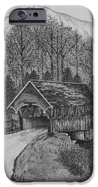 Covered Bridge Drawings iPhone Cases - Covered Bridge iPhone Case by Christine Brunette