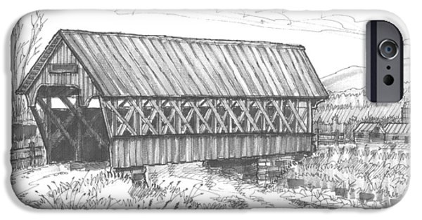 Covered Bridge Drawings iPhone Cases - Covered Bridge Coventry Vermont iPhone Case by Richard Wambach