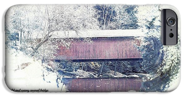 Covered Bridge Mixed Media iPhone Cases - Covered Bridge No 2 iPhone Case by Spencer McKain