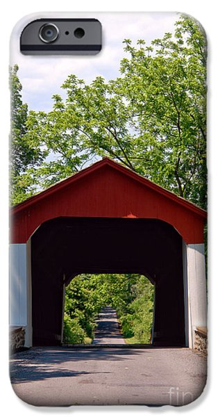 Covered Bridge iPhone Cases - Covered Bridge iPhone Case by Olivier Le Queinec