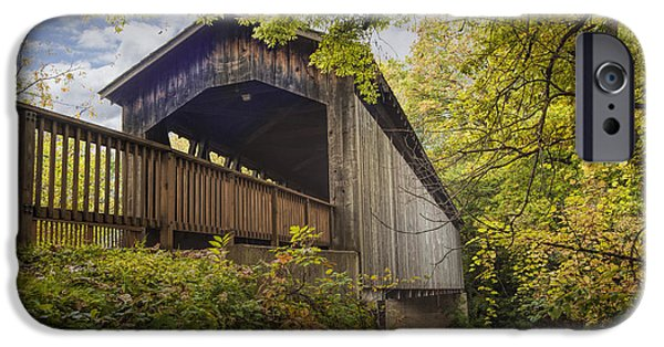 Covered Bridge iPhone Cases - Covered Bridge on the Thornapple River in Ada Michigan iPhone Case by Randall Nyhof