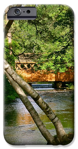 Covered Bridge Pyrography iPhone Cases - Covered Bridge iPhone Case by Patricia Innes
