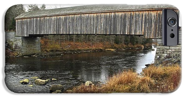 Covered Bridge Mixed Media iPhone Cases - Covered Bridge iPhone Case by Shiela  Mahaney