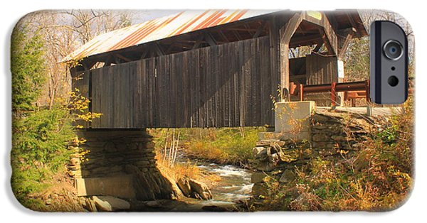 Covered Bridge iPhone Cases - Covered Bridge Stowe Hollow Vermont iPhone Case by John Burk