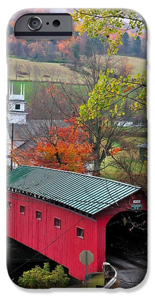 Covered Bridge-West Arlington Vermont iPhone Case by Thomas Schoeller