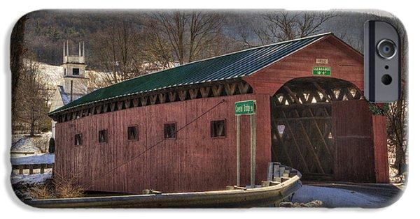 Snow Scene iPhone Cases - Covered Bridge - West Arlington Vt iPhone Case by Joann Vitali