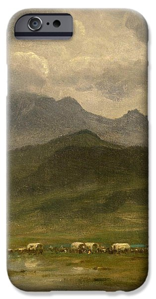Snow-covered Landscape Paintings iPhone Cases - Covered wagons iPhone Case by Albert Bierstadt
