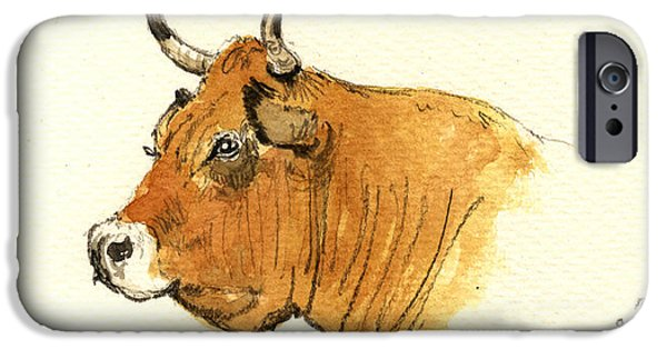 Nature Study Paintings iPhone Cases - Cow head study iPhone Case by Juan  Bosco