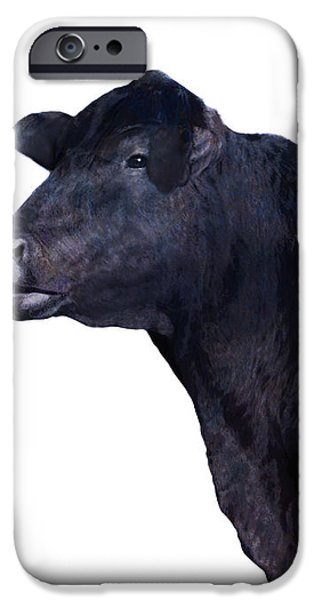 Cow on White iPhone Case by Ann Powell