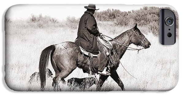 Daydreams Art Photographs iPhone Cases - Cowboy and Dogs iPhone Case by Cindy Singleton