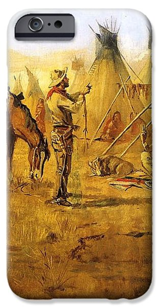 Cowboy Bargaining for the Indian Girl iPhone Case by Charles Russell