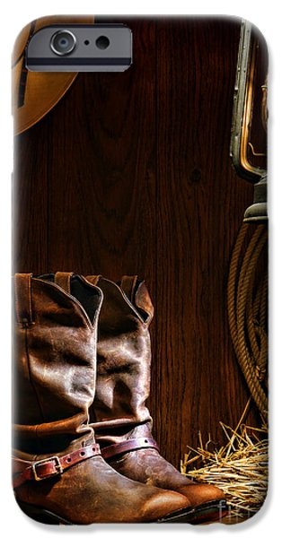 Oil Lamp Photographs iPhone Cases - Cowboy Boots at the Ranch iPhone Case by Olivier Le Queinec