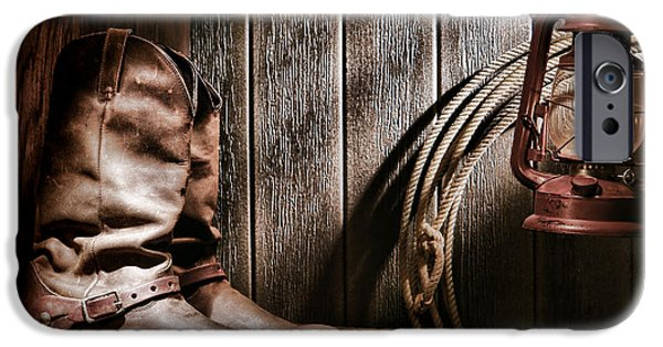 Boots iPhone Cases - Cowboy Boots in Old Barn iPhone Case by Olivier Le Queinec