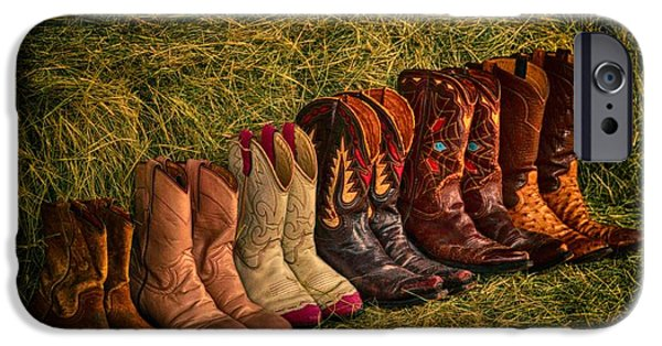 Hallmark Greeting Card iPhone Cases - Cowboy Boots on Hay iPhone Case by Kristina Deane
