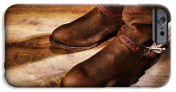 Working Cowboy Photographs iPhone Cases - Cowboy Boots on Saloon Floor iPhone Case by Olivier Le Queinec