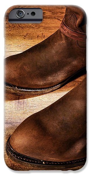 Cowboy Boots on Saloon Floor iPhone Case by Olivier Le Queinec