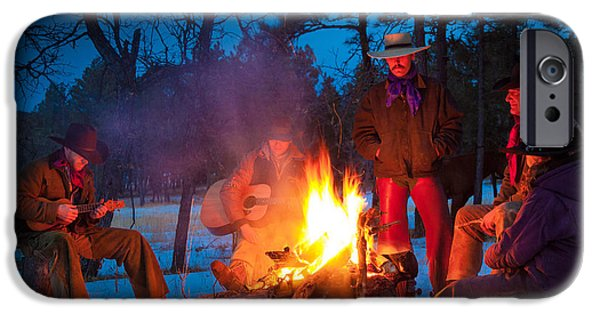 Snowy Evening iPhone Cases - Cowboy Campfire iPhone Case by Inge Johnsson