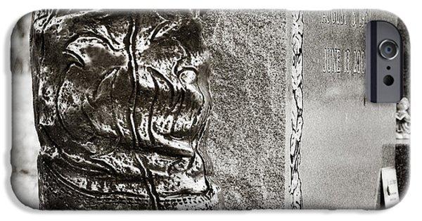 Headstones iPhone Cases - Cowboy Grave iPhone Case by Angela Bonilla