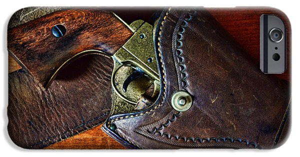 Law Enforcement iPhone Cases - Cowboy Gun in Holster iPhone Case by Paul Ward