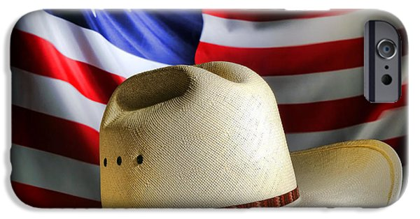 Patriotism iPhone Cases - Cowboy Hat and American Flag iPhone Case by Olivier Le Queinec