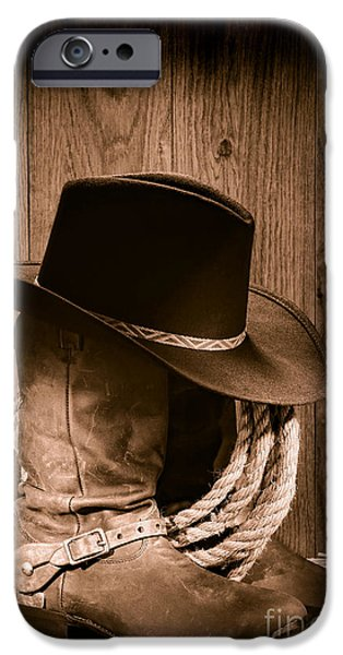Hat iPhone Cases - Cowboy Hat and Boots iPhone Case by Olivier Le Queinec