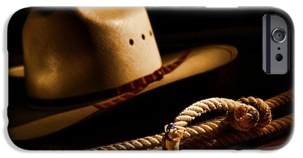 Cowboy Gear iPhone Cases - Cowboy Hat and Lasso iPhone Case by Olivier Le Queinec