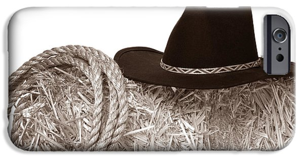 Cowboy Gear iPhone Cases - Cowboy Hat and Rope on Bale iPhone Case by American West Legend By Olivier Le Queinec