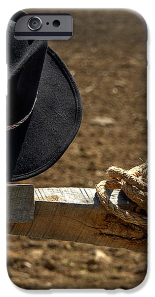 Cowboy Hat and Rope on Fence iPhone Case by Olivier Le Queinec