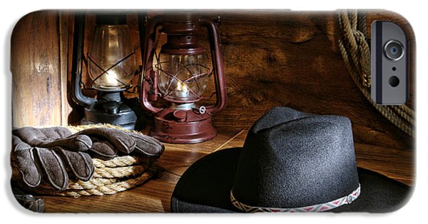 Cowboy Gear iPhone Cases - Cowboy Hat and Tools iPhone Case by Olivier Le Queinec