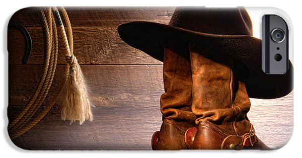 Hat iPhone Cases - Cowboy Hat on Boots iPhone Case by Olivier Le Queinec
