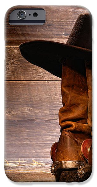 Cowboy Hat on Boots iPhone Case by Olivier Le Queinec