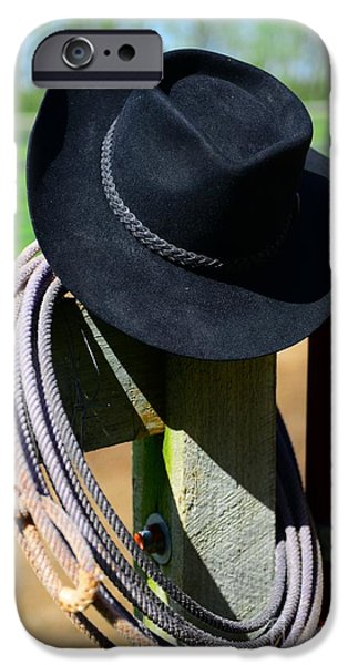 Roping Horse iPhone Cases - Cowboy Hat on Fence iPhone Case by Paul Ward