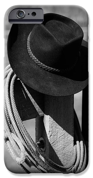 Roping Horse iPhone Cases - Cowboy Hat on Fence Post in Black and White iPhone Case by Paul Ward
