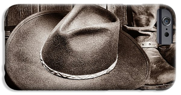 Cowboy Gear iPhone Cases - Cowboy Hat on Floor iPhone Case by American West Legend By Olivier Le Queinec