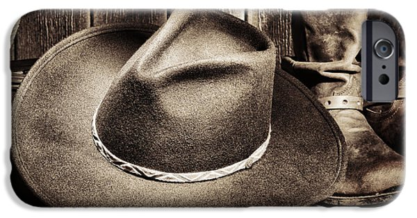 Cowboy Gear iPhone Cases - Cowboy Hat on Floor iPhone Case by Olivier Le Queinec