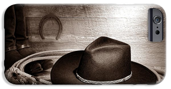 Cowboy Gear iPhone Cases - Cowboy hat on Lasso iPhone Case by American West Legend By Olivier Le Queinec