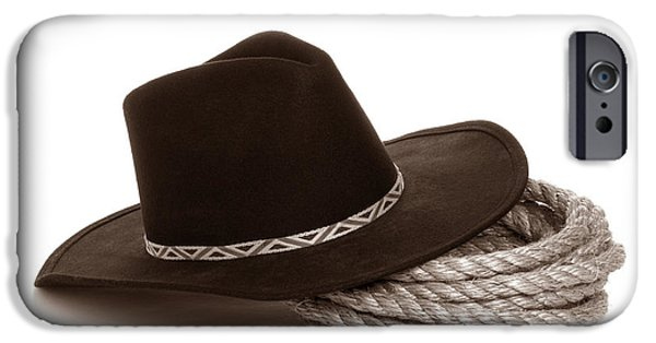 Cowboy Gear iPhone Cases - Cowboy Hat on Rope iPhone Case by American West Legend By Olivier Le Queinec
