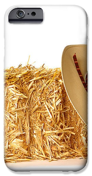 Cowboy Hat on Straw Bale iPhone Case by Olivier Le Queinec