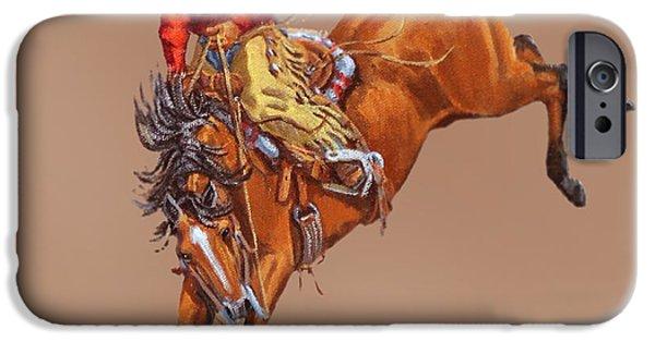 Arizonia iPhone Cases - Cowboy On A Bucking Horse iPhone Case by Randy Follis