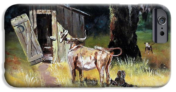 Thinking iPhone Cases - Cowboy On The Outhouse  iPhone Case by Lee Piper