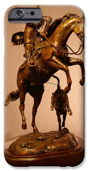 Horse Sculptures iPhone Cases - Cowboy roping a calf bronze sculpture titled LITTLE STINKER iPhone Case by Kim Corpany