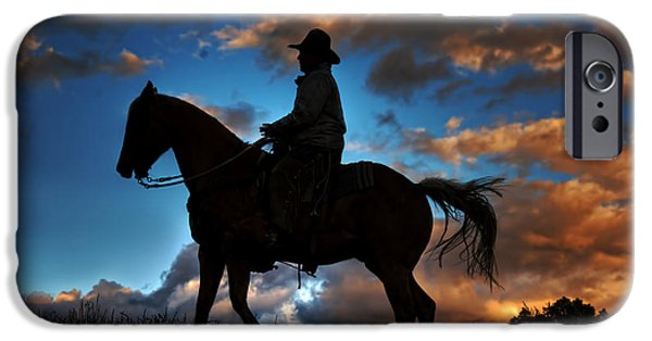 Chaps iPhone Cases - Cowboy Silhouette iPhone Case by Ken Smith