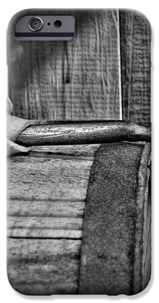 Cowboy themed Wood Barrel and Spur in Black and White iPhone Case by Paul Ward