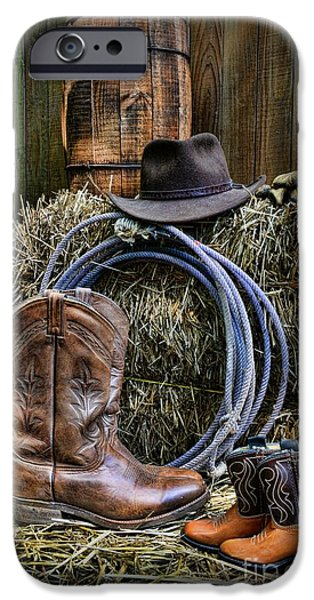 Roping Horse iPhone Cases - Cowboy - When I Grow Up iPhone Case by Paul Ward